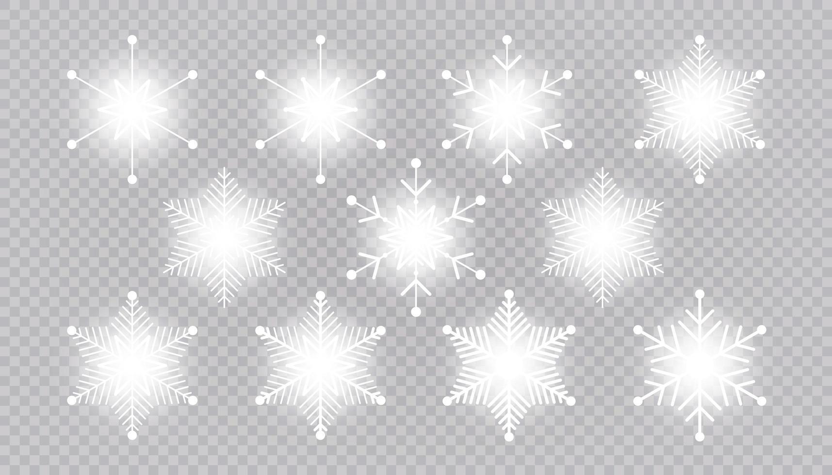 vector gran conjunto de elementos de diseño de copo de nieve de luz blanca