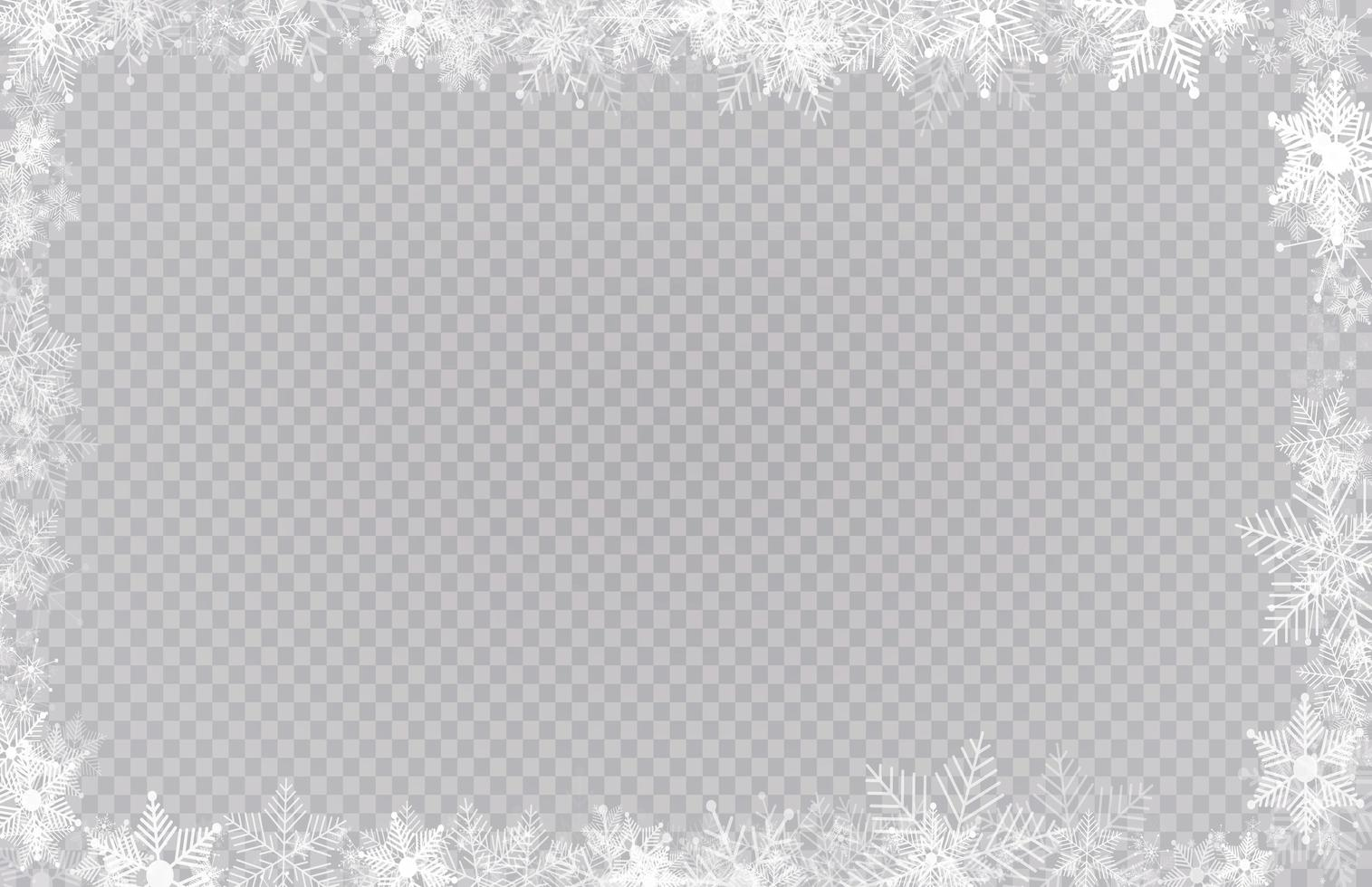 Rectangular winter snow frame border with stars, sparkles and snowflakes vector