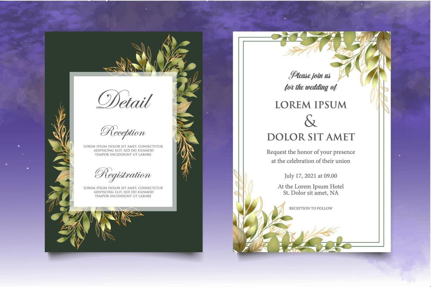 hermoso dibujo a mano plantilla de invitación de boda floral vector
