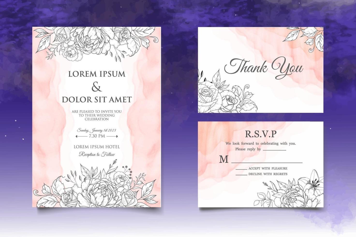 Hand Drawing Floral Wedding Invitation Card vector