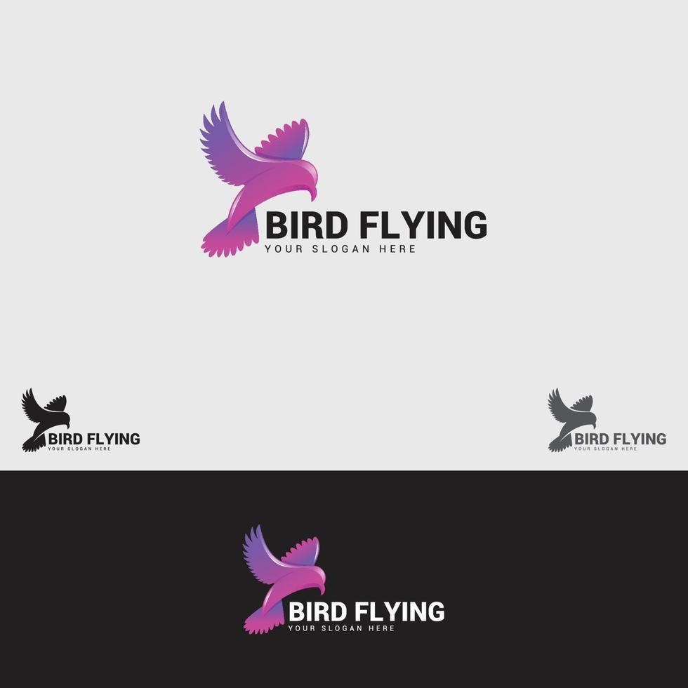 plantilla de diseño de logotipo de pájaro volando vector