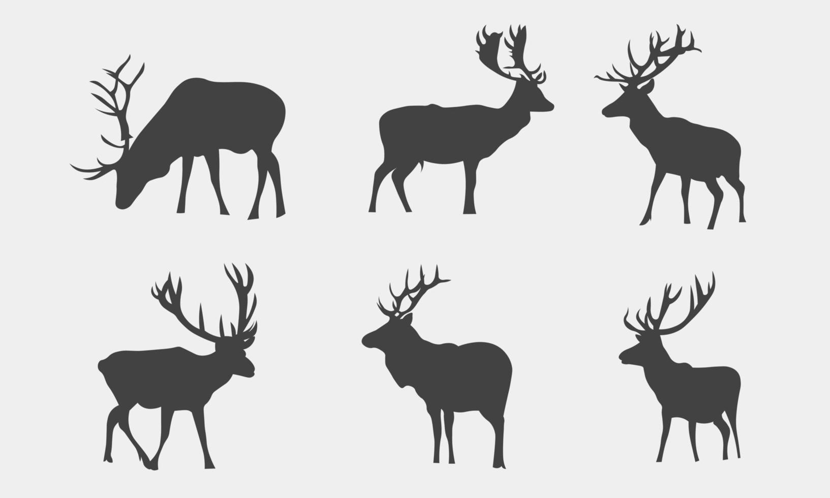Ilustración vectorial de colección de siluetas de ciervos de animales vector