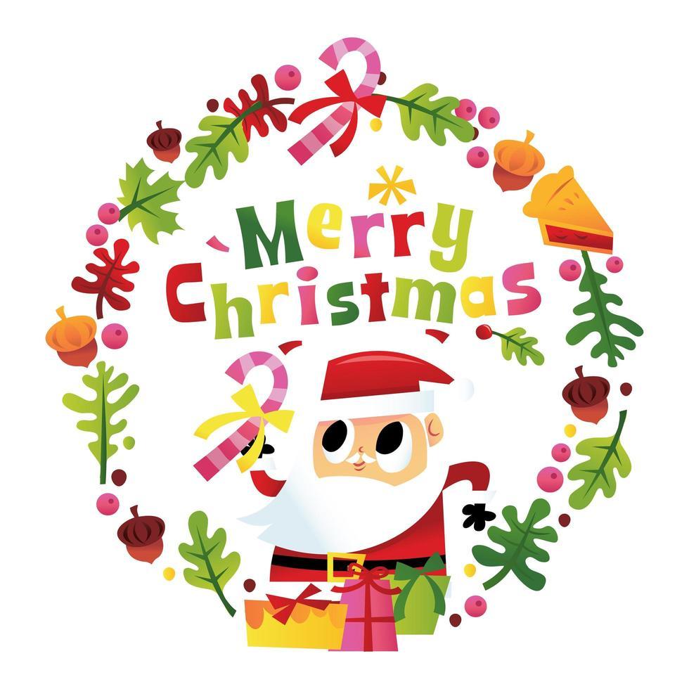 super lindo feliz feliz navidad santa corona vector