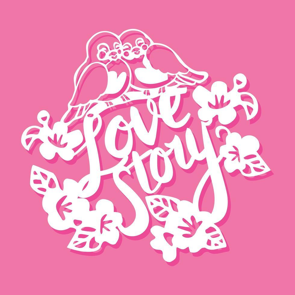 Birds Love Story Flowers Paper Cut vector