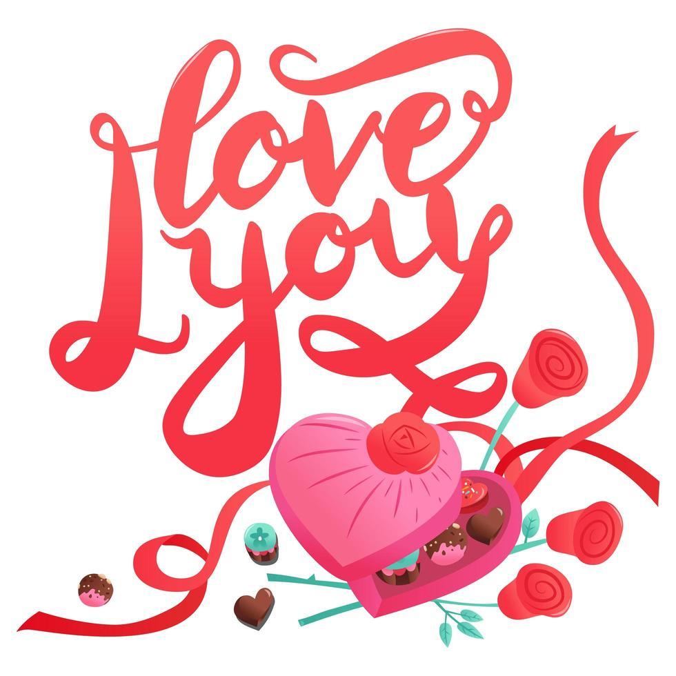 dulces dulces de san valentín chocolates corazón caja de amor vector