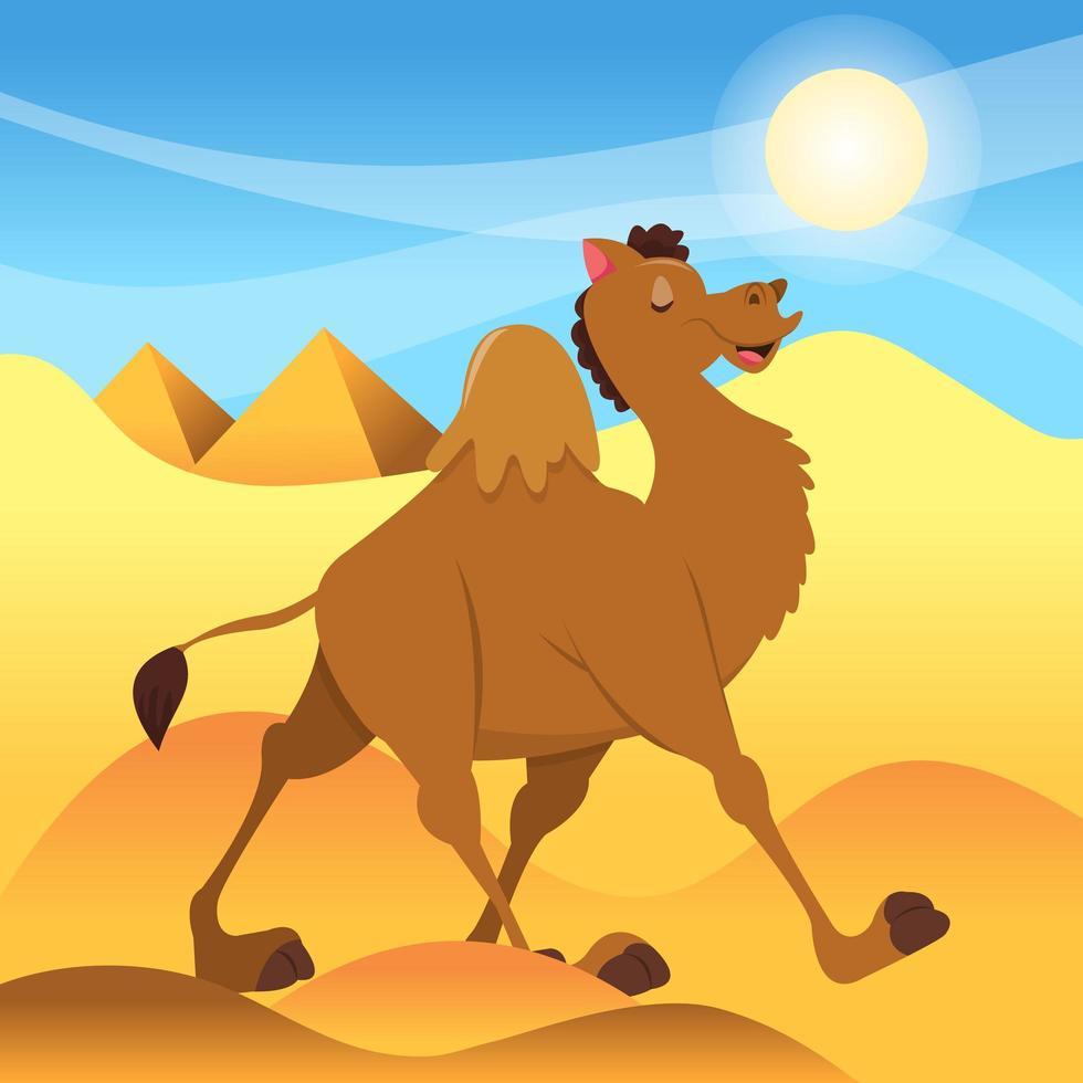 camello de dibujos animados caminando en el desierto del sahara vector