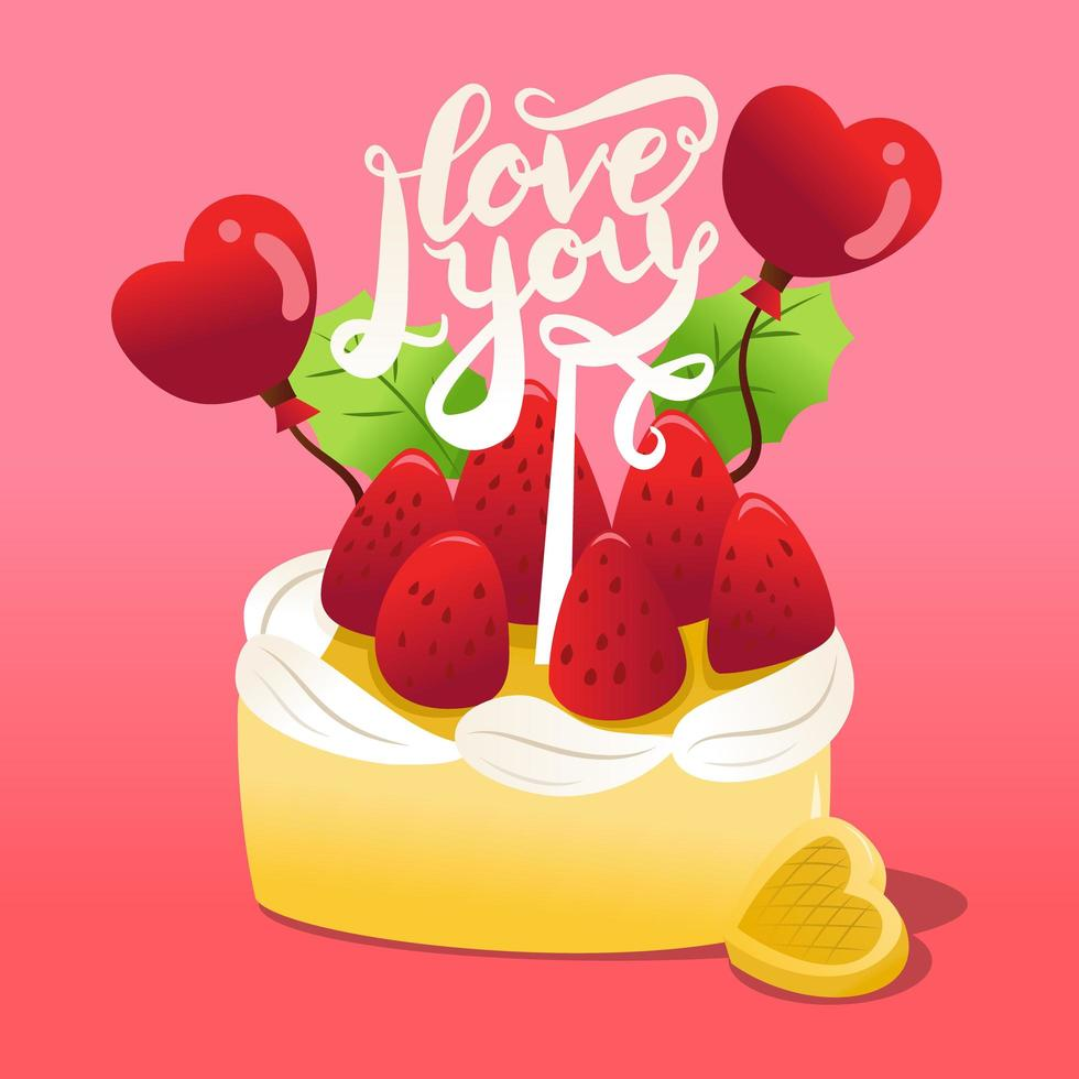 Strawberries Cake With I Love You Cake Topper vector