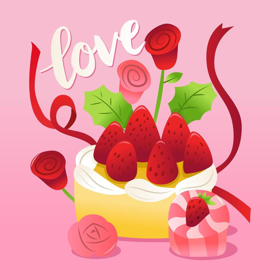 Strawberries Cake With Roses And Ribbons. vector
