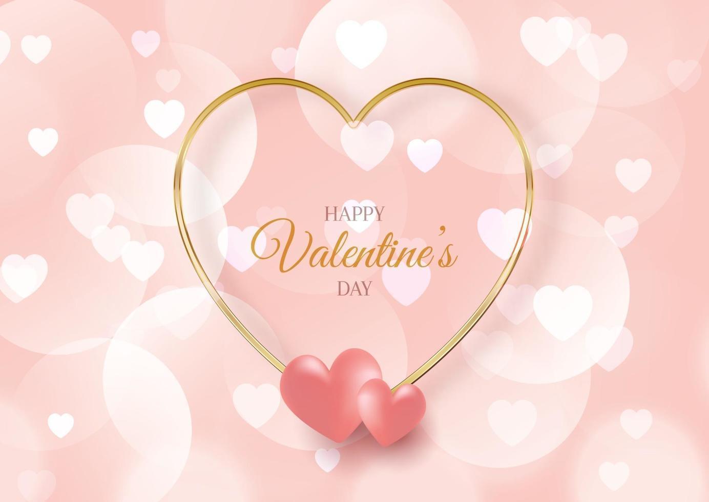Fondo del día de San Valentín con corazones y luces bokeh vector