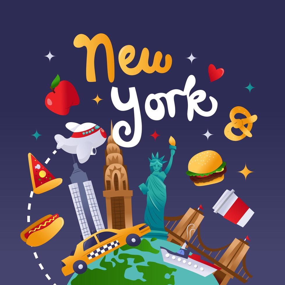 Super Cute New York Culture Travel Globe vector