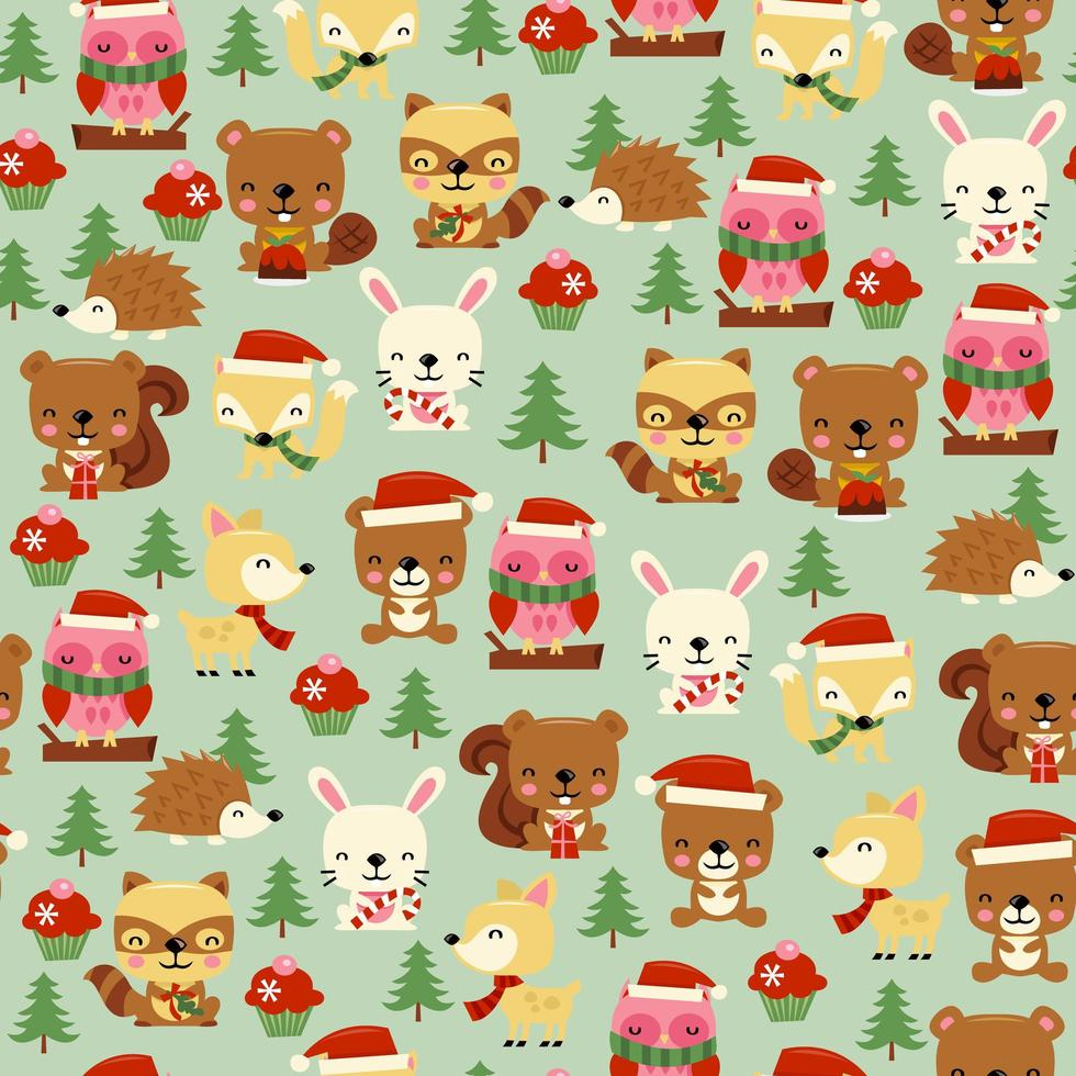 Christmas Woodland Creatures Seamless Pattern Background vector