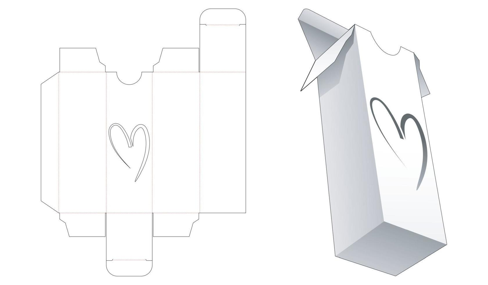 Tall packaging with heart shaped window die cut template vector