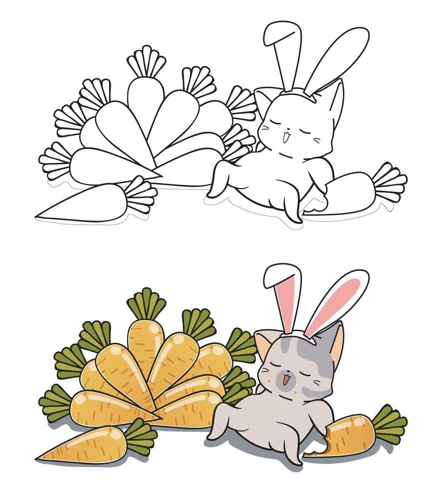 Bunny cat and carrots cartoon coloring page for kids vector