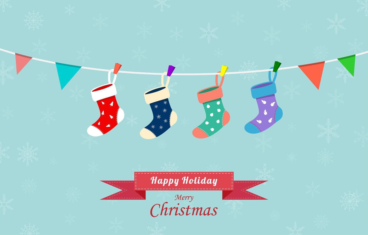tarjeta de felicitación navideña con calcetines colgantes en estilo plano vector