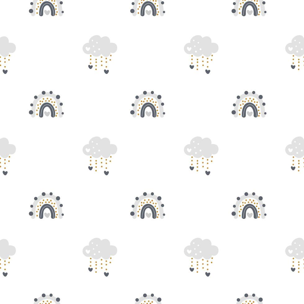 Cute vector rainbow with clouds seamless pattern in scandinavian style isolated on white background for kids. Hand drawn cartoon illustration for nordic posters, prints, cards, fabric, children books