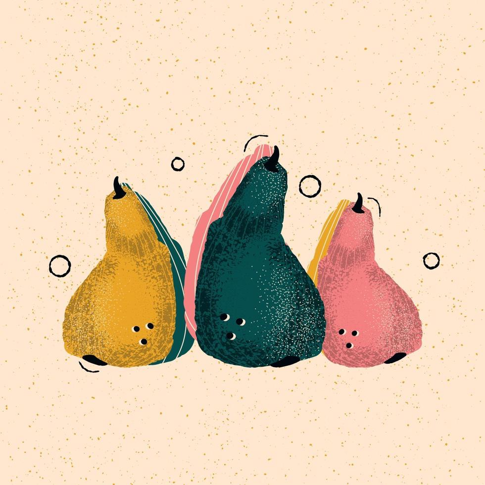 Colorful hand-drawn pears in vector