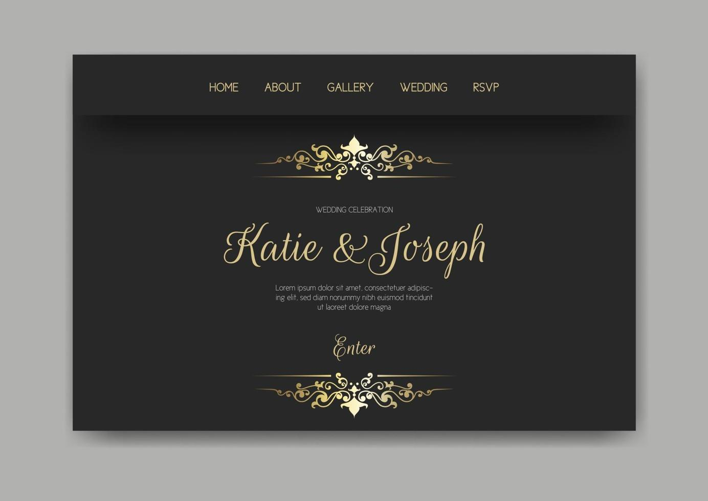 Gold and black wedding landing page vector
