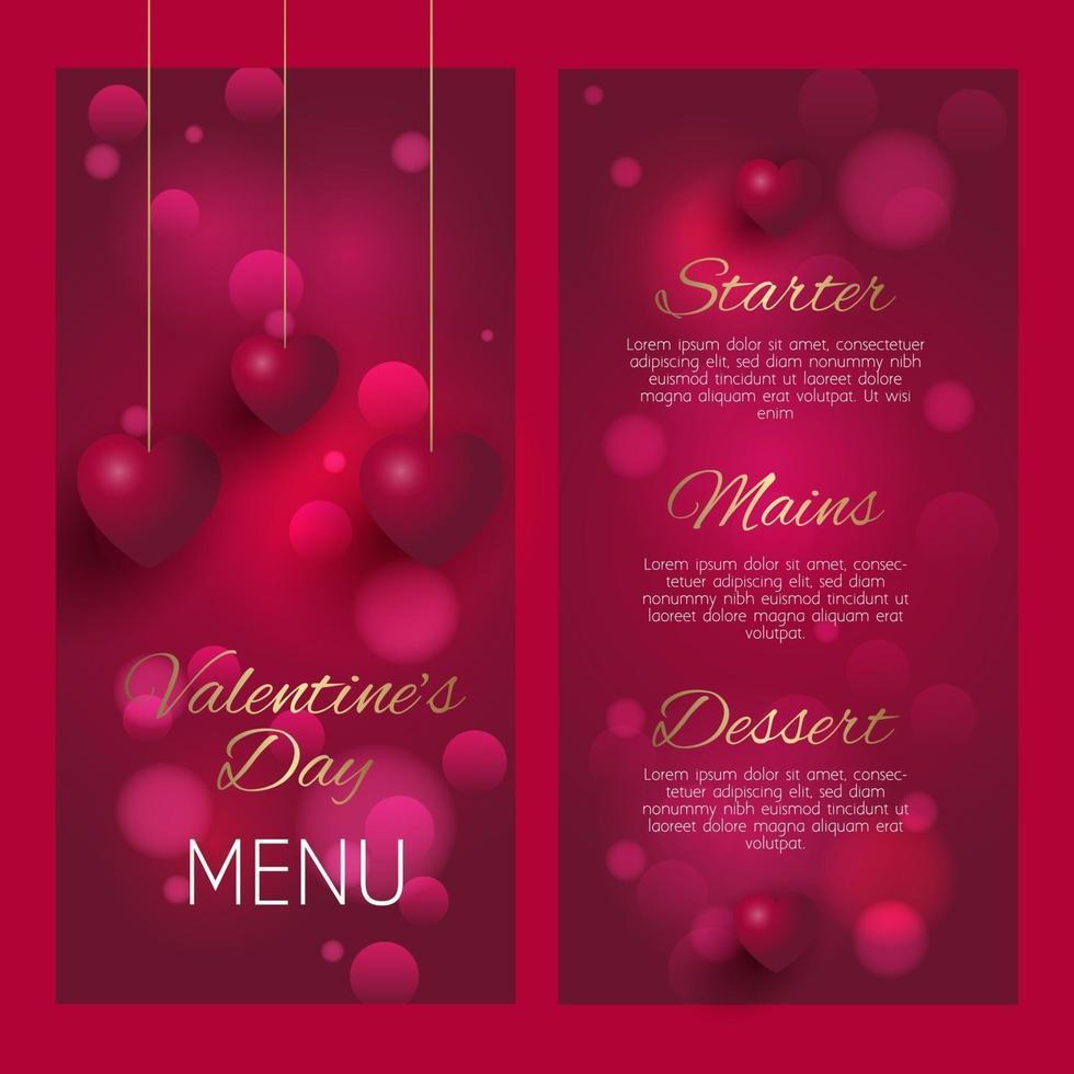 elegante diseño de menú del día de san valentín vector