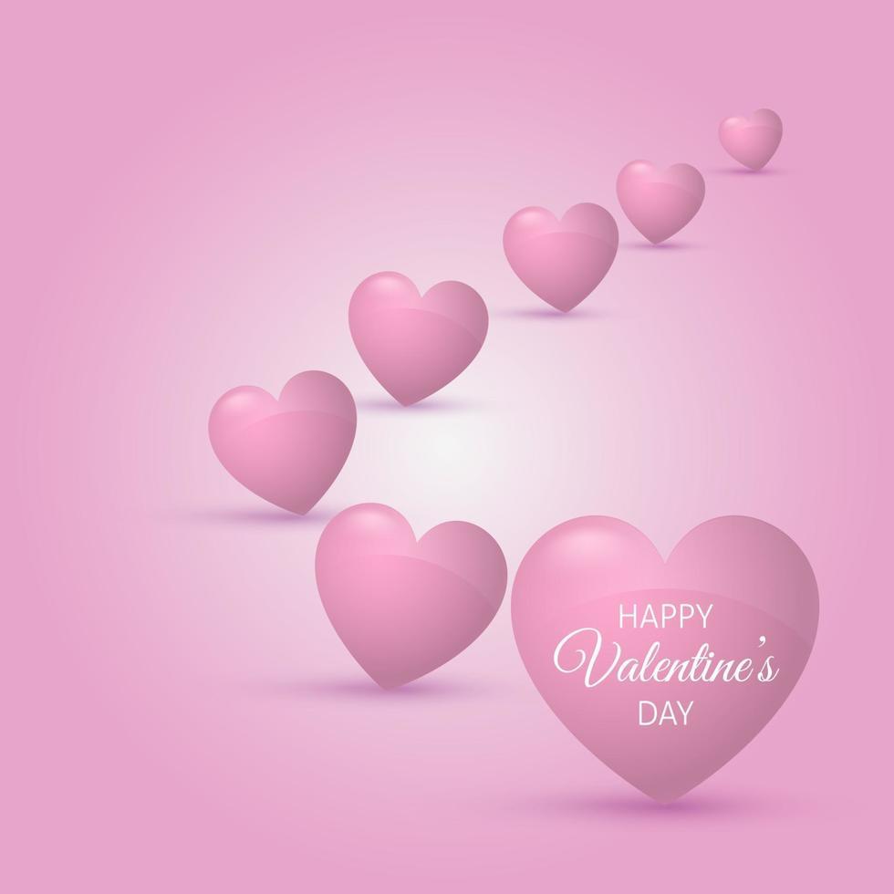 fondo del día de san valentín con corazones rosas vector