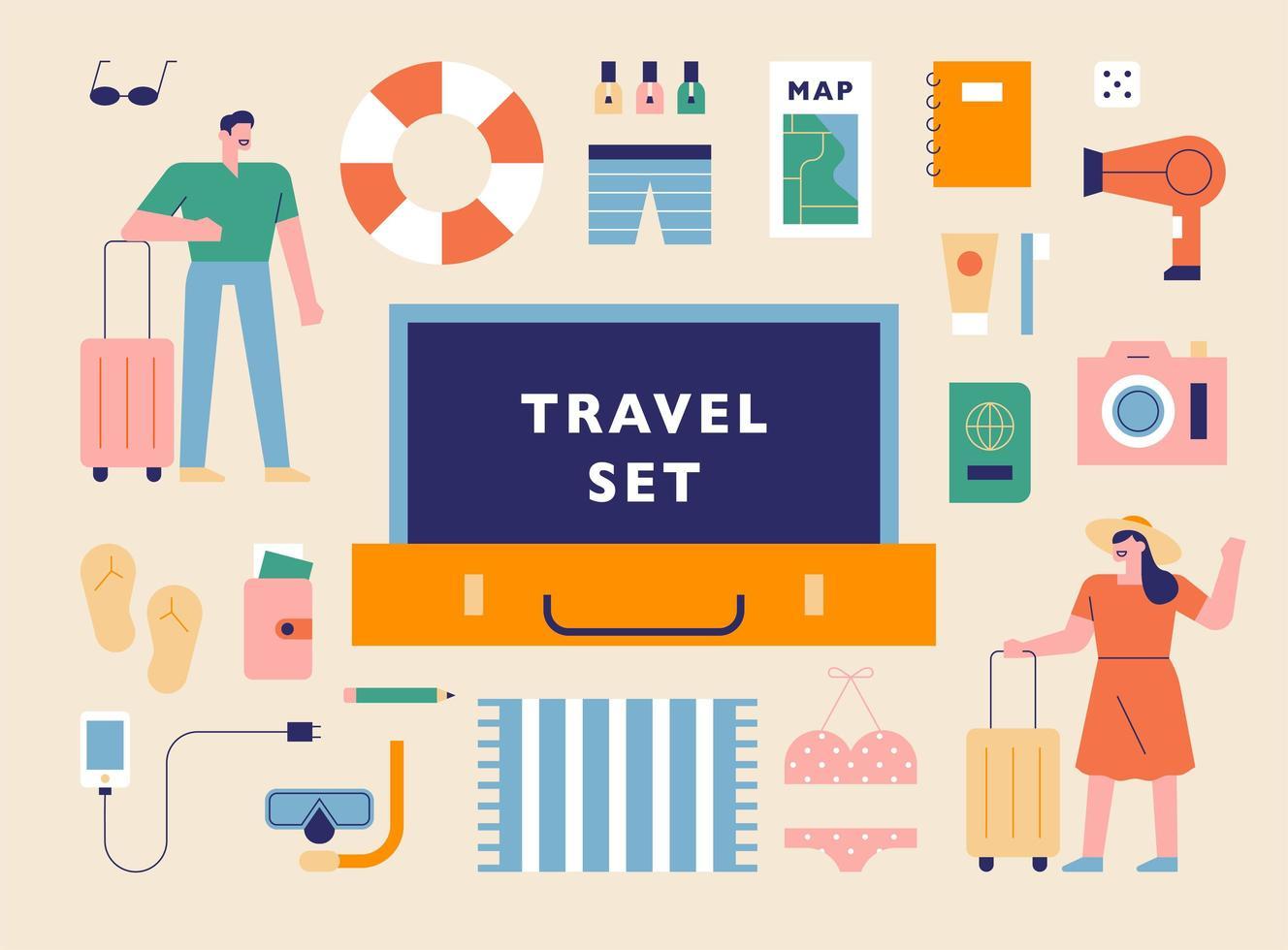 Summer vacation items. vector