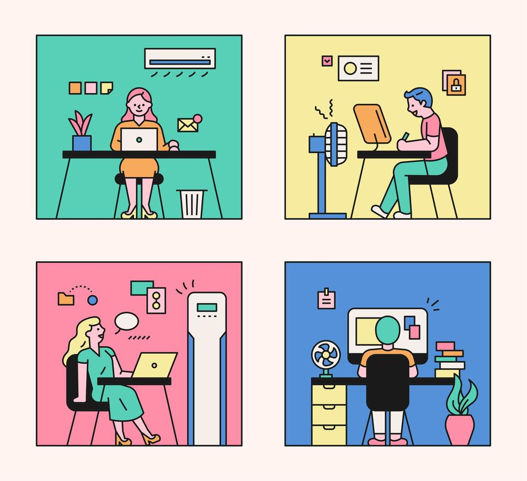 People working in the office. vector