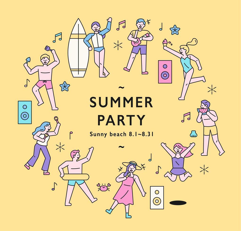 cartel de fiesta de verano. vector