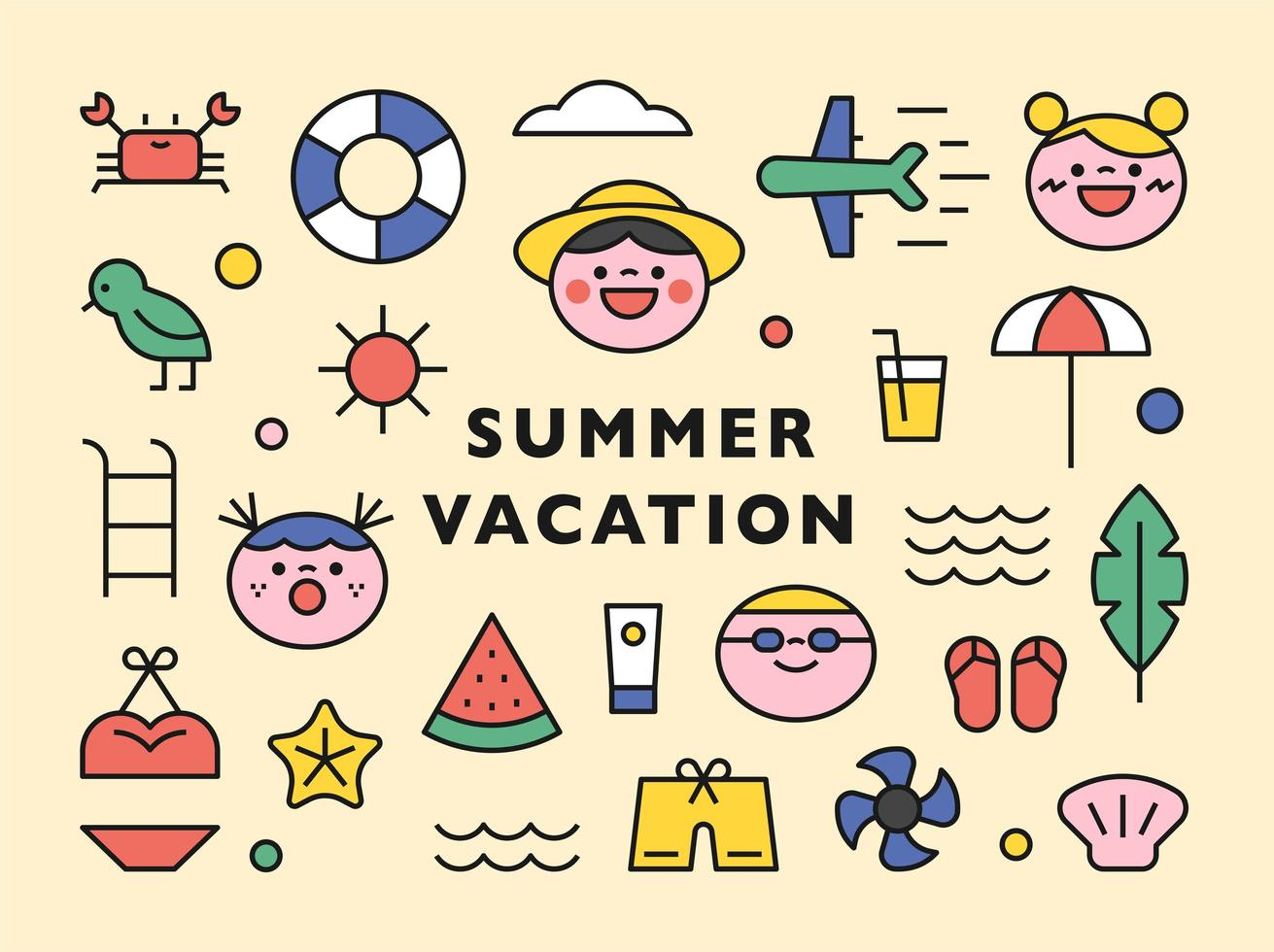 Cute summer beach icons collection. vector