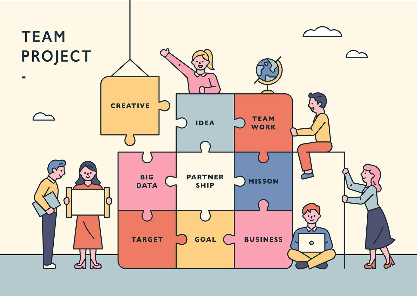 Team project concept banner template. vector