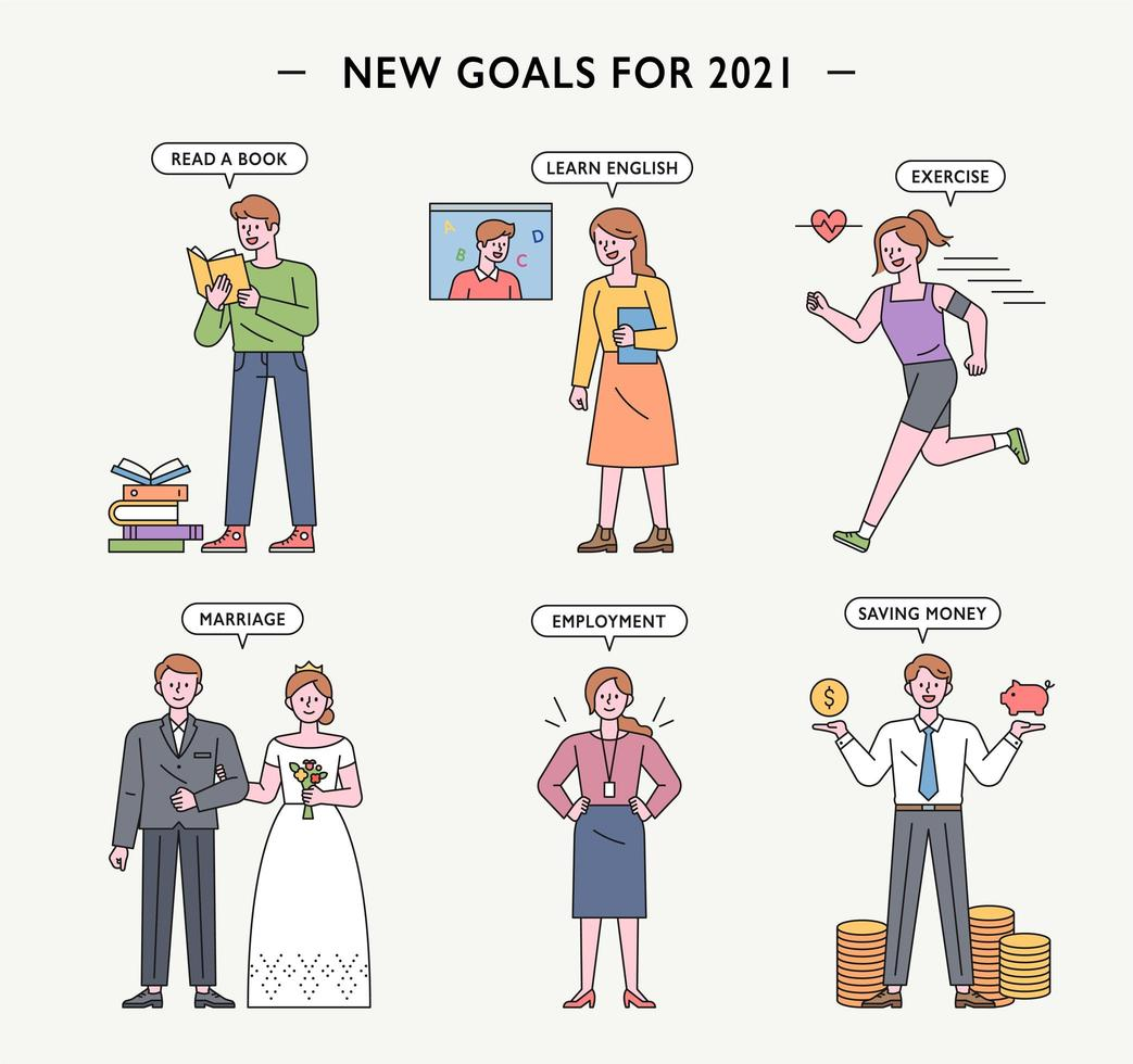 New Year goal characters. vector
