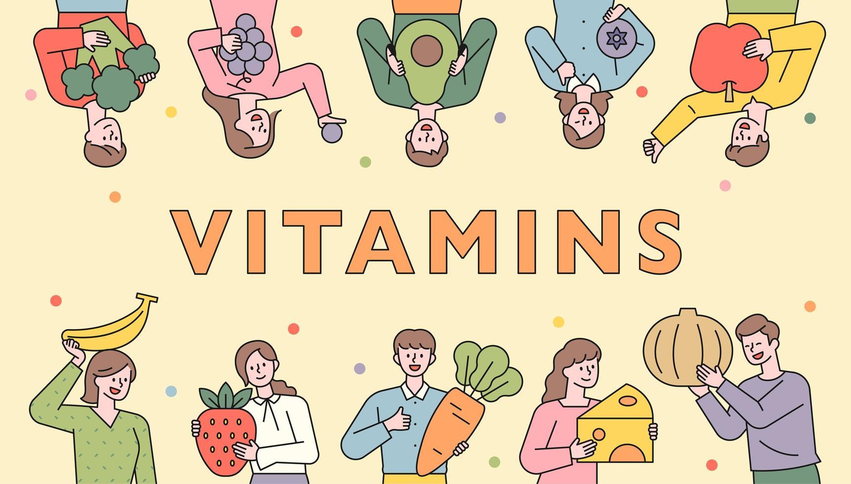 banner de personas recomendando alimentos saludables. vector