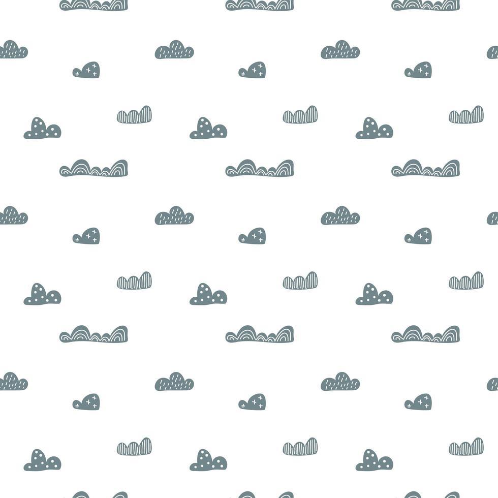 niño lindo doodle nubes de patrones sin fisuras en estilo escandinavo. vector dibujado a mano niños fondos de pantalla nórdicos, vacaciones