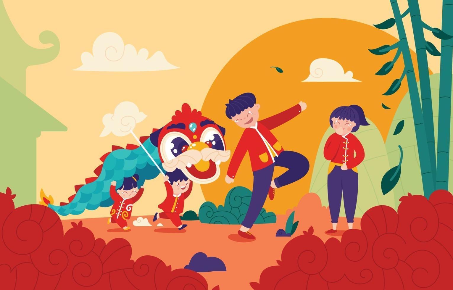 familia feliz jugando danza del león en el festival de año nuevo chino vector