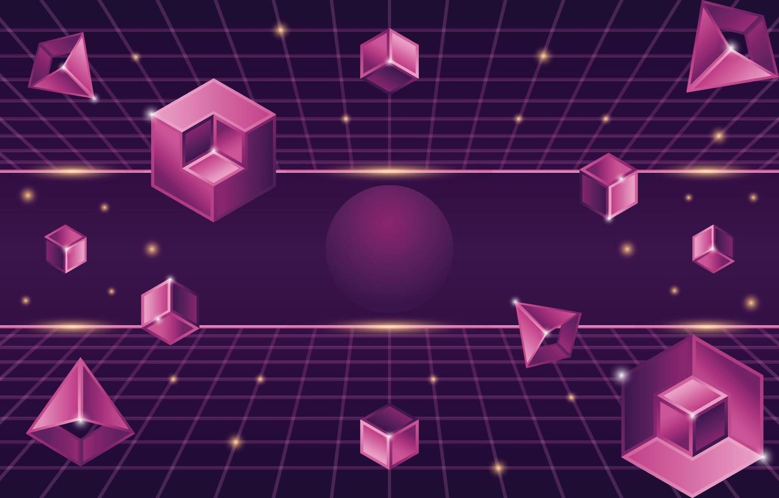 Retro Futurism Background with Geometric 3D Elements vector