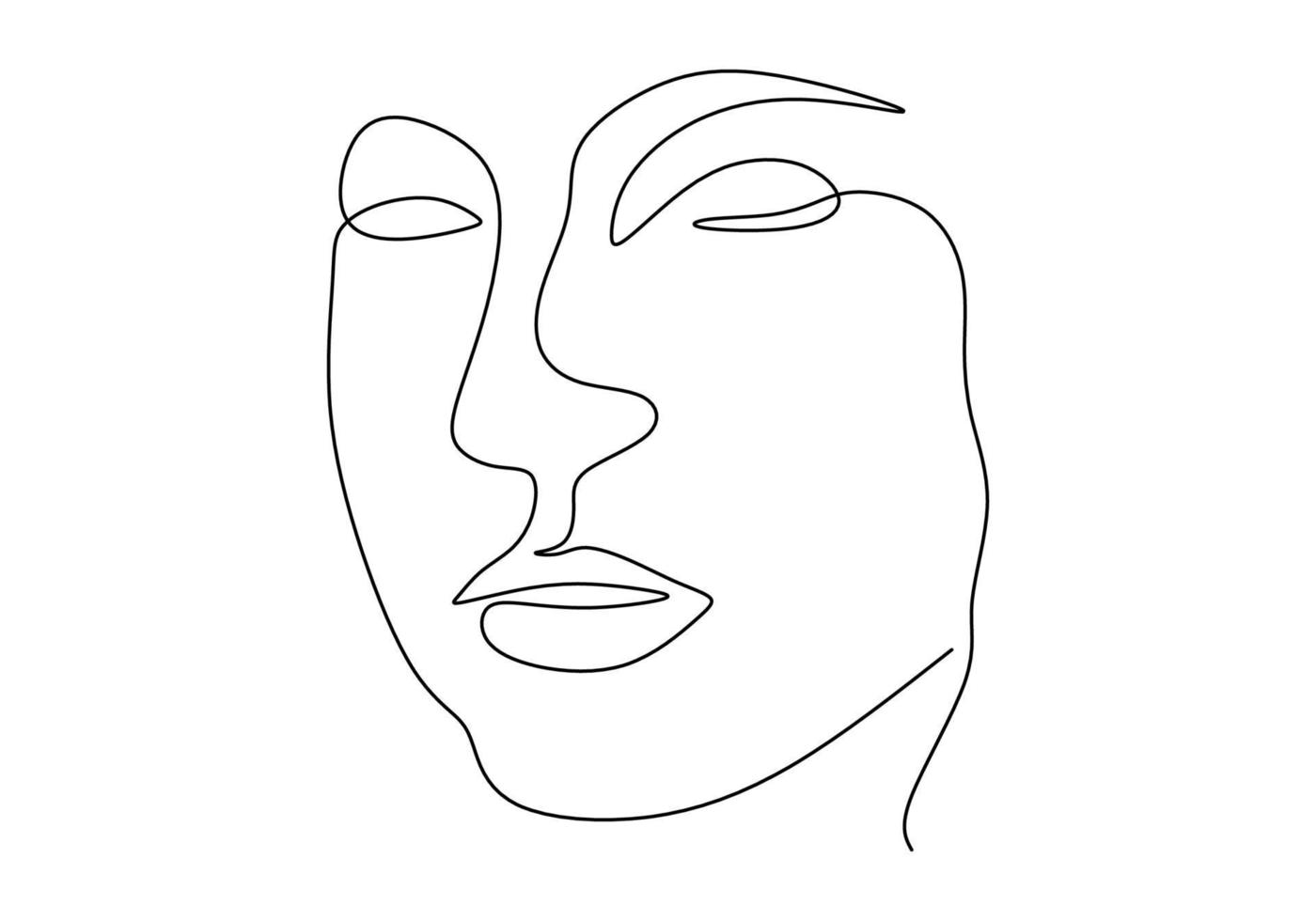 dibujo de línea continua cara abstracta. vector de minimalismo aislado sobre fondo blanco.