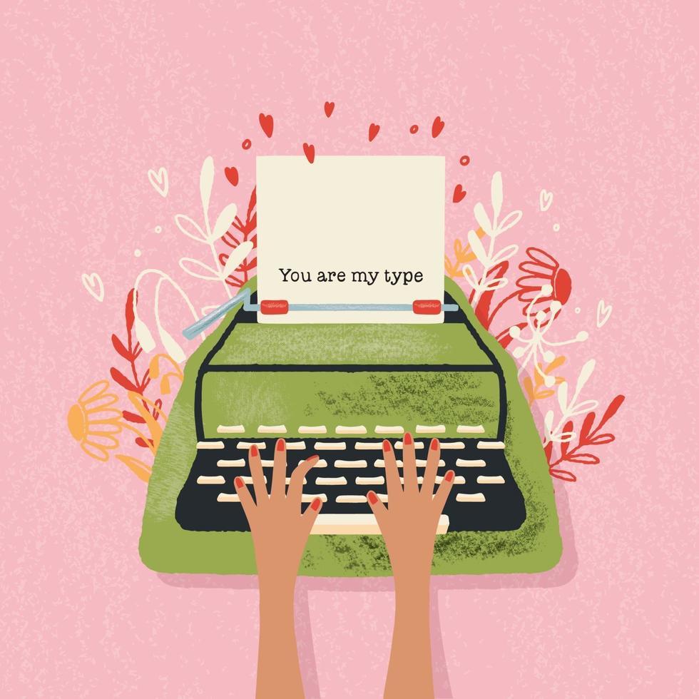 máquina de escribir y nota de amor con letras a mano. Ilustración colorida dibujada a mano para el feliz día de San Valentín. tarjeta de felicitación con flores y elementos decorativos. vector