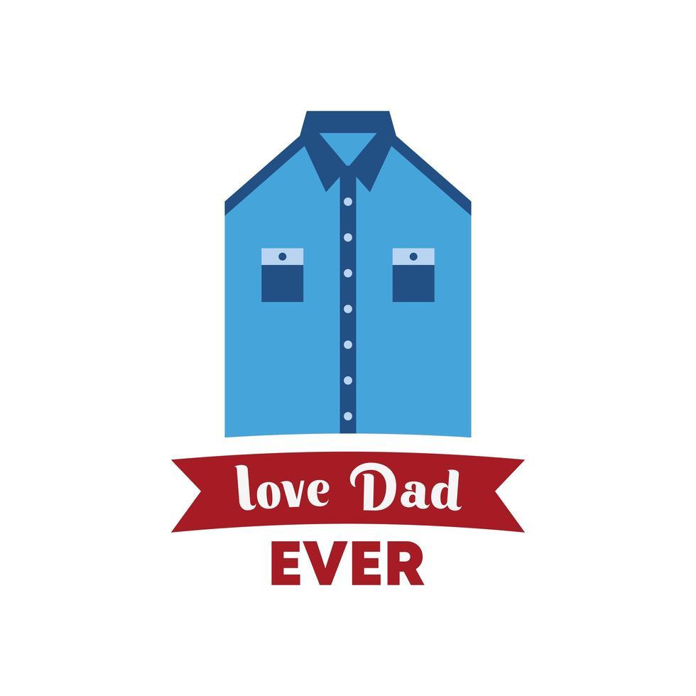 celebración del día del padre con uniforme y texto, amo a papá. elemento plano simple aislado sobre fondo blanco. vector