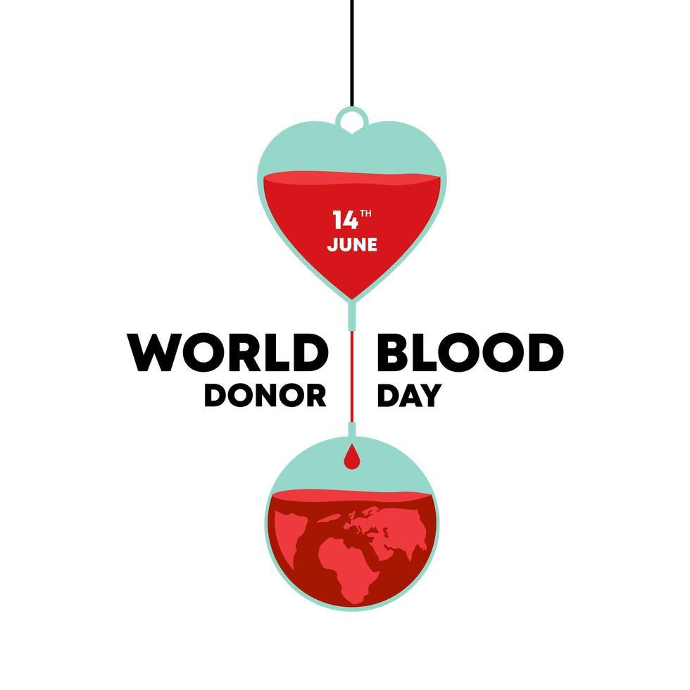 vector día mundial del donante de sangre, signo médico el 14 de junio ilustración vectorial. metáfora de la donación de sangre humana para la humanidad.