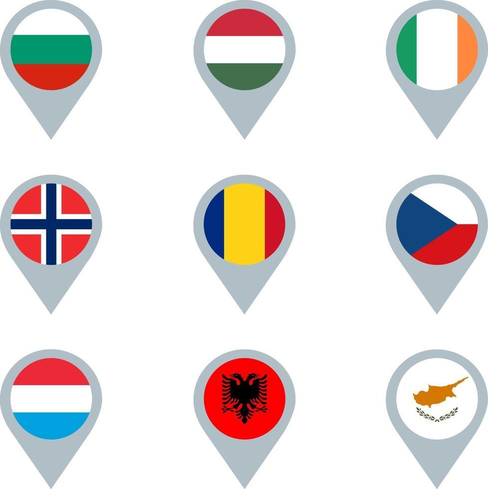 conjunto de marcadores de mapa con banderas vector