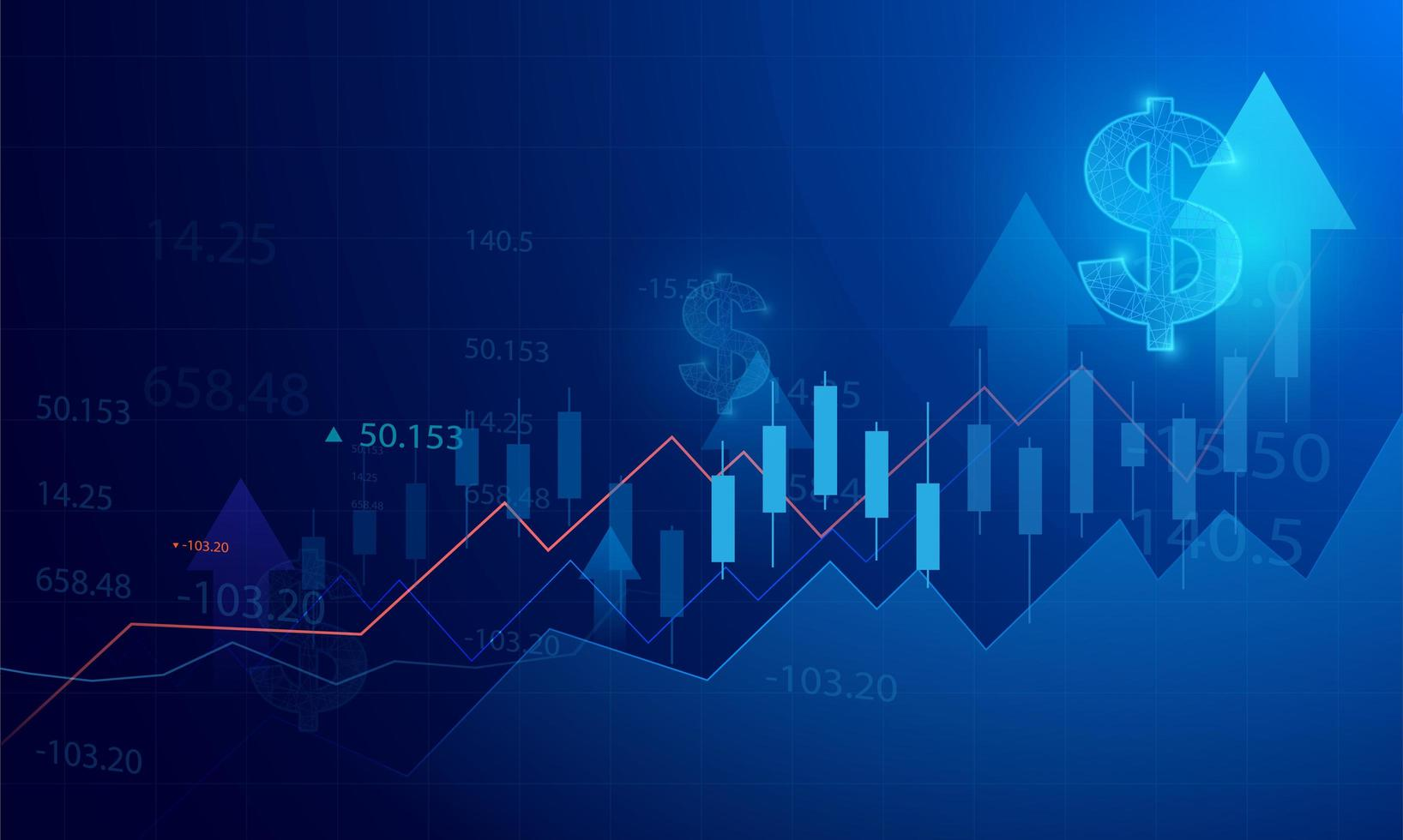 Business graph chart of stock market investment on blue background vector