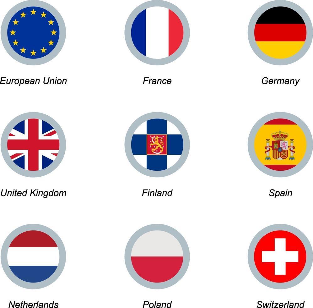 conjunto de iconos redondos con banderas vector