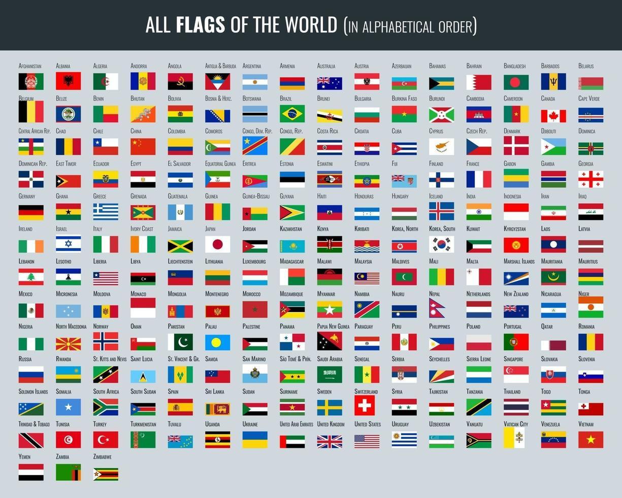 conjunto de todas las banderas del mundo vector