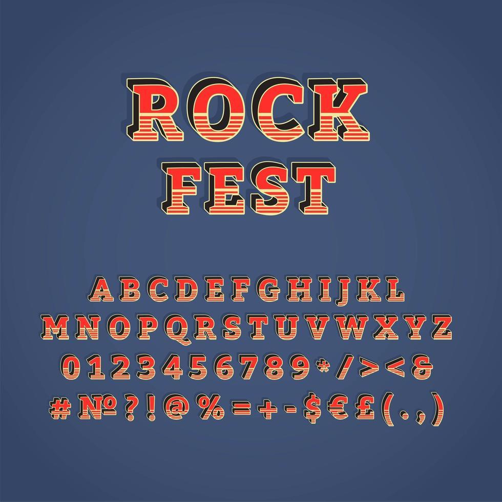 rock fest vintage conjunto de alfabeto de vector 3d