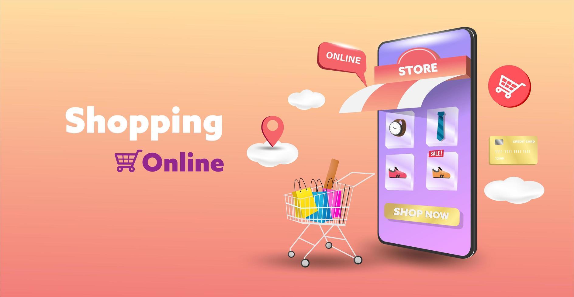 tienda de compras en línea en el diseño de sitios web y teléfonos móviles. concepto de marketing empresarial inteligente. vista horizontal. ilustración vectorial. vector