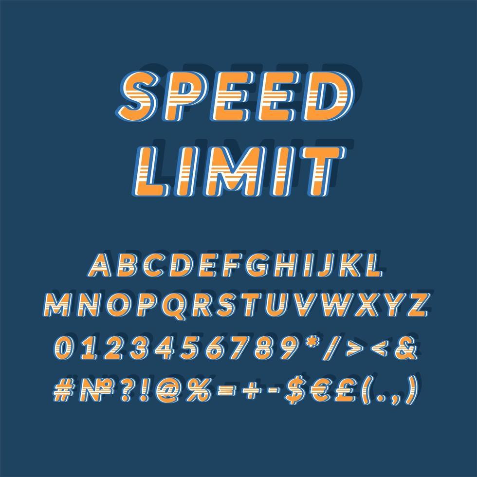 Límite de velocidad encabezado vintage conjunto de alfabeto vectorial 3d vector
