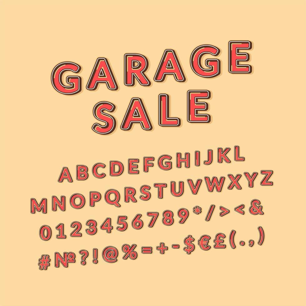 venta de garaje, encabezado, vendimia, 3d, vector, alfabeto, conjunto vector
