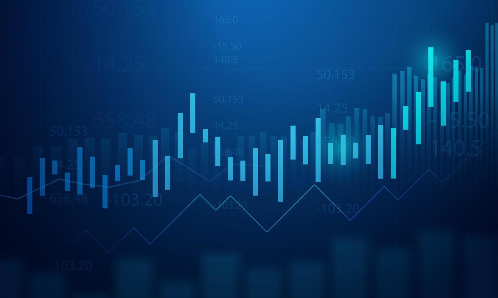 Gráfico de negocio gráfico de inversión bursátil sobre fondo azul. vector
