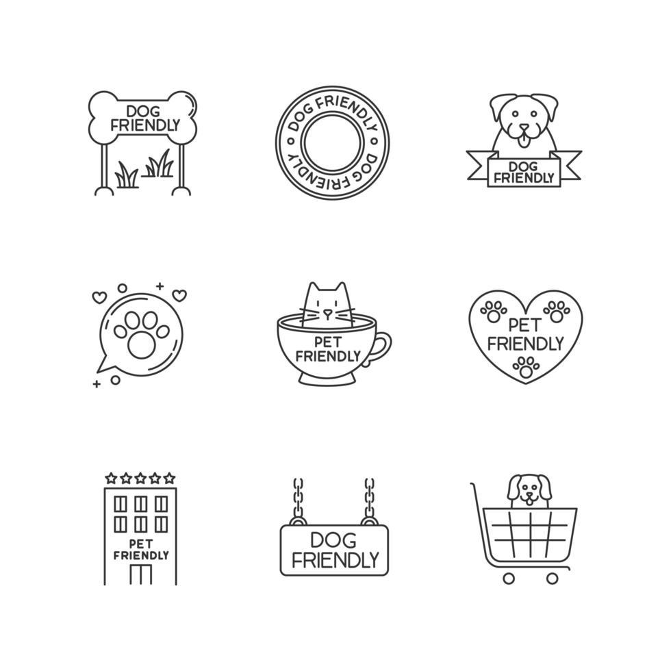 Conjunto de iconos lineales perfectos de píxeles de emblemas que admiten mascotas. se permiten gatitos y perritos, bienvenidos lugares públicos. vector