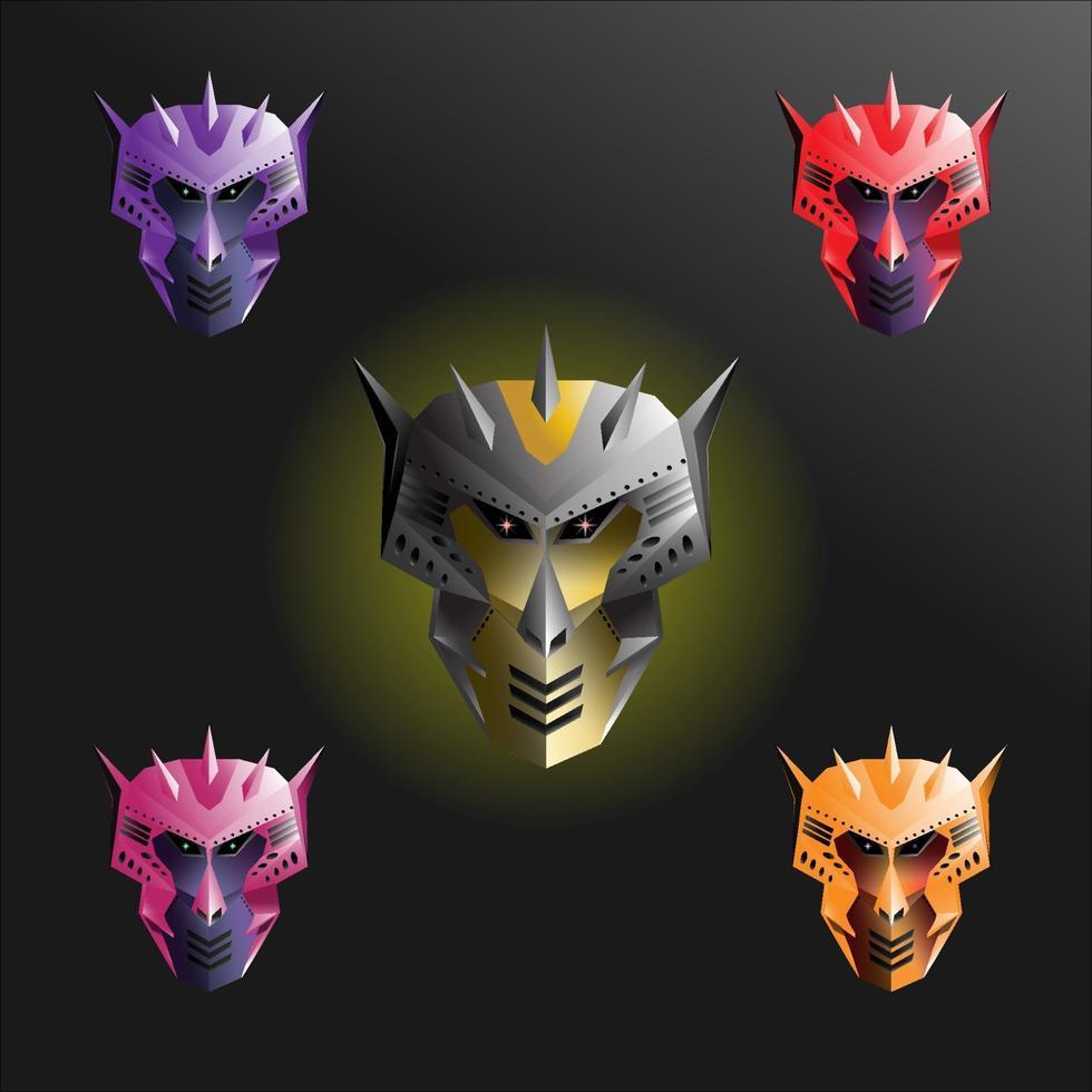 conjuntos de robots de cabeza de mono con diferentes colores vector