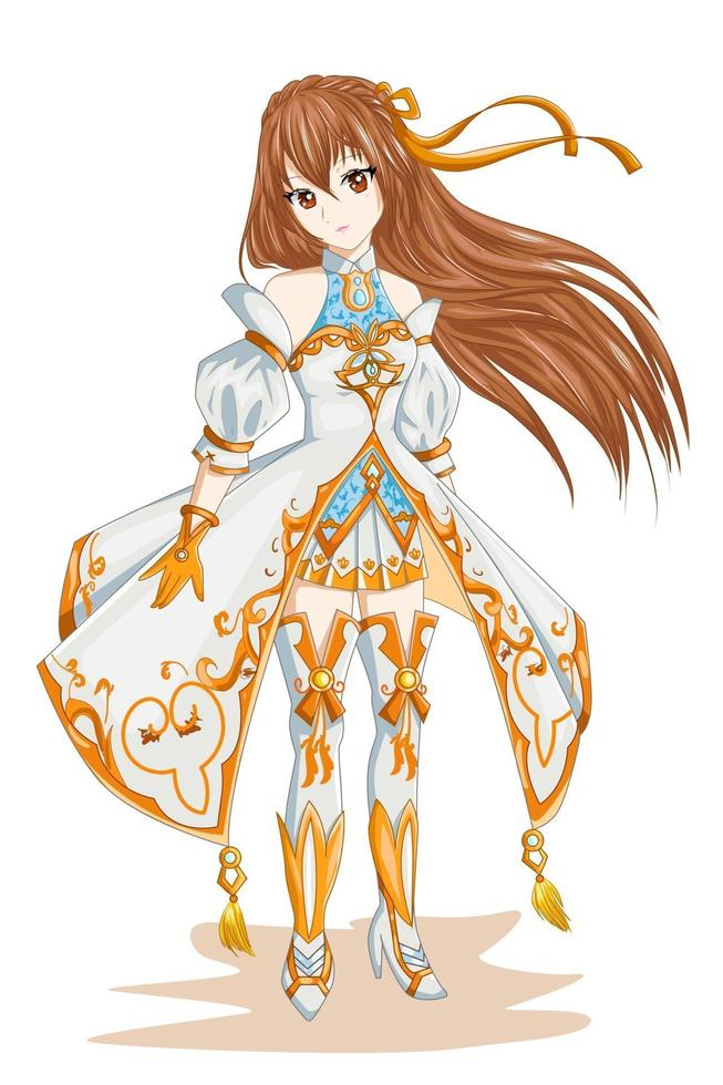 Anime girl with brown hair wearing white gold costume character game illustration vector