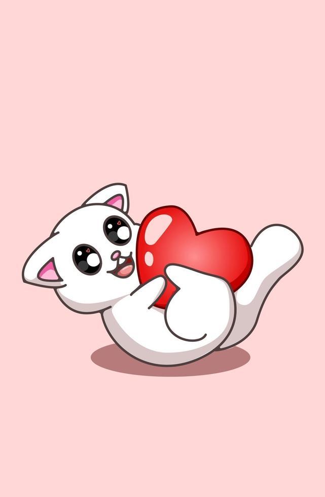 Kawaii y gracioso gato que rueda con un gran corazón ilustración de dibujos animados de San Valentín vector